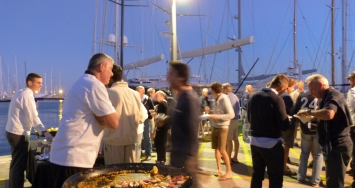 Clients and crew meeting at Marina Port de Mallorca